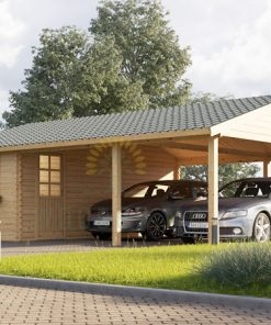 Double carports with shed (6m x 7.5m), 44mm