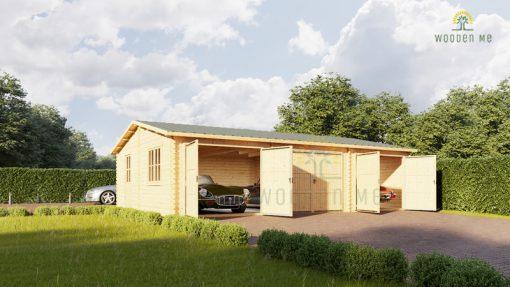Wooden triple garage (9m x 6 m), 44mm