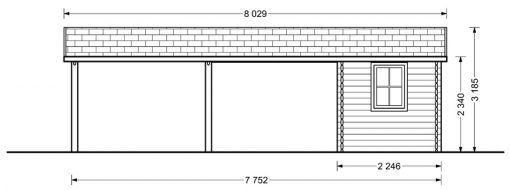 Double carport with shed (6m x 7.5m), 44mm - front