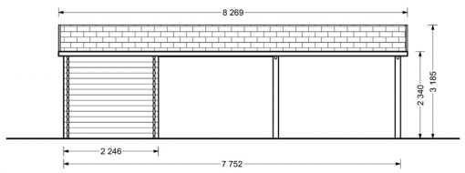 Double carport with shed (6m x 7.5m), 44mm - back