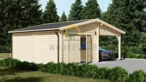 Compact garage with carport (7m x 6m), 44mm
