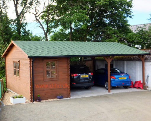 Double carport with shed (6m x 7.5m), 44mm