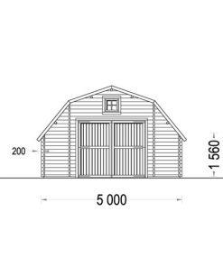 Wooden garage Sawyer (5m x 6 m), 44mm - front
