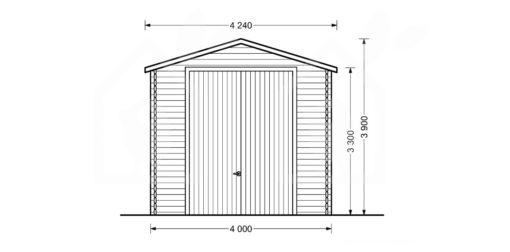 High garage Camping (4m x 8m), 44mm - front