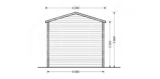 High garage Camping (4m x 8m), 44mm - back