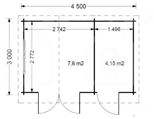 Wooden cabin BENINGTON - Floor plan