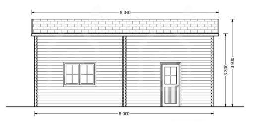 High garage Camping (4m x 8m), 44mm - side
