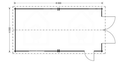 High garage Camping (4m x 8m), 44mm -floor plan