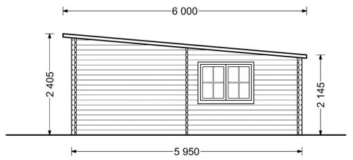 Flat roof double garage (6m x 6m), 44mm - side