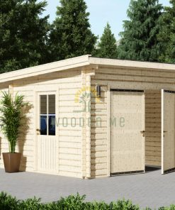 Modern wooden garage (4m x 6m), 44mm