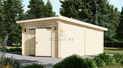 Modern wooden garage (4m x 6m), 44mm