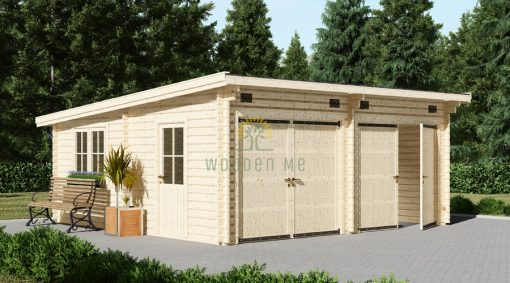 Flat roof double garage (6m x 6m), 44mm