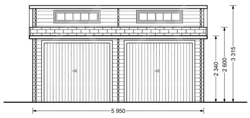 Garage Double Twin (6m x 6m), 44mm - front