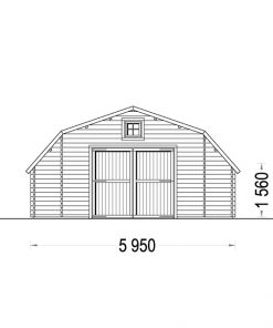 Exclusive design garage Texas (6m x 6m), 44mm - front