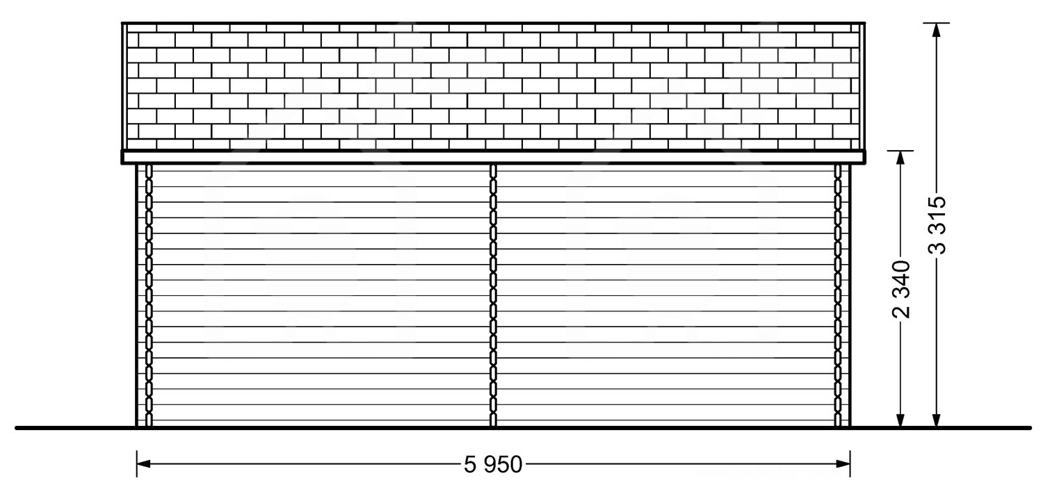 Garage Double Twin 6m x 6m, 44mm 32m² view from back