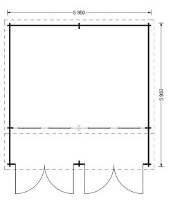 Garage Double Twin 4m x 6m, 44mm 32m²