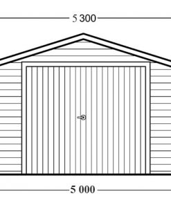 Wooden garage (5m x 6m), 44mm - front