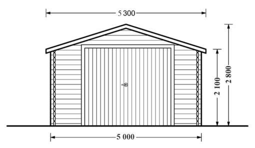 Wooden garage (5m x 6m), 44mm - front