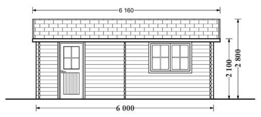 Wooden garage (5m x 6m), 44mm - side