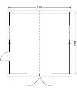 Wooden garage (5m x 6m), 44mm - floor plan