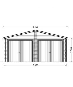 Double wooden garage Hangar (6m x 9m) - front view