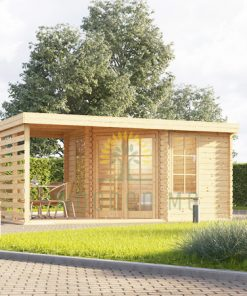 Corner cabin with terrace AISNE PLUS (3m x 3m), 28 mm: