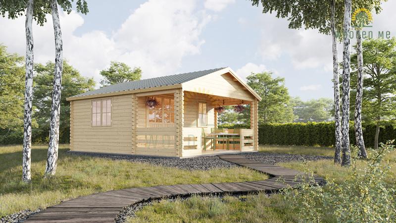 Wooden house Shanon (4m x 4m) + terrace, 44mm/66mm