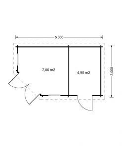Kim 15 m2, 44 mm - Floor plan