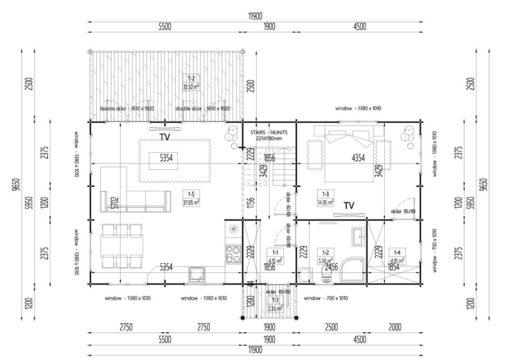 Wooden summerhouse Versailles 11.9 m x 9.65 m - Floor plan