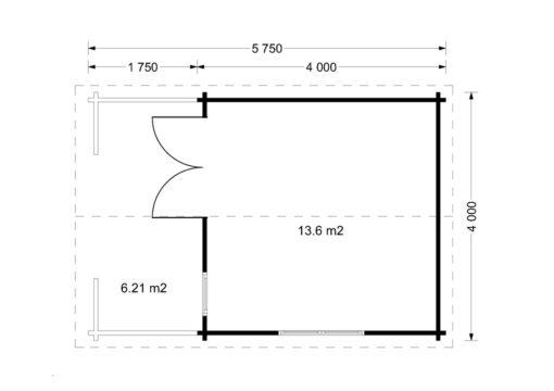 Wooden house Shanon (4m x 4m) + terrace - Floor plan