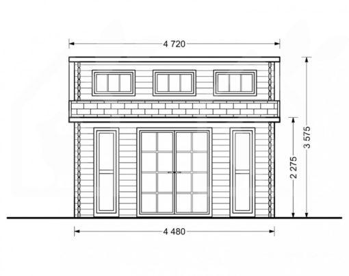 Wooden cabin ALABAMA (4.5m x 4.5m), - Front