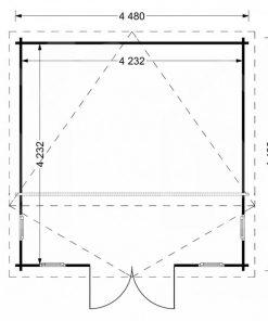 Wooden cabin ALABAMA (4.5m x 4.5m), - Floor plan