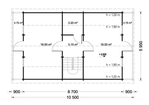 Wooden summerhouse Langon (6m x 8.7m) - floor plan I