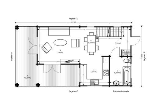 2 storey wood house,Toulouse (6m x 11m) - Floor plan 1