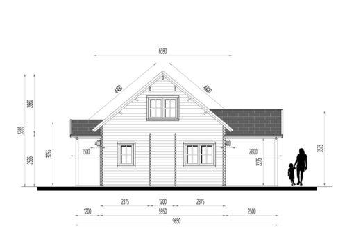 Wooden summerhouse Versailles 11.9 m x 9.65 m - Right side