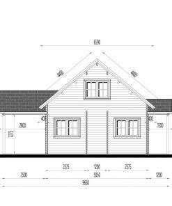 Wooden summerhouse Versailles 11.9 m x 9.65 m - side