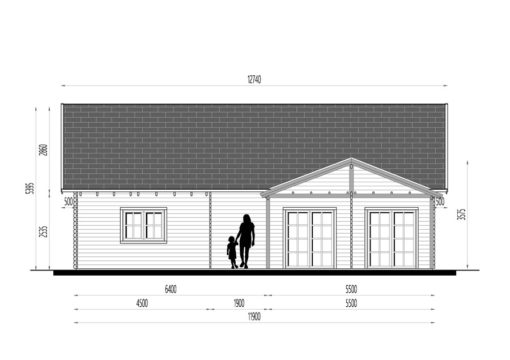 Wooden summerhouse Versailles 11.9 m x 9.65 m - Front side