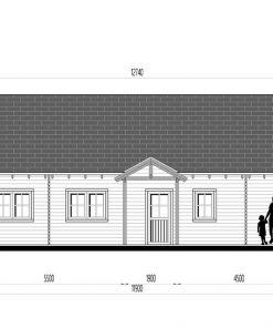 Wooden summerhouse Versailles 11.9 m x 9.65 m - Back side