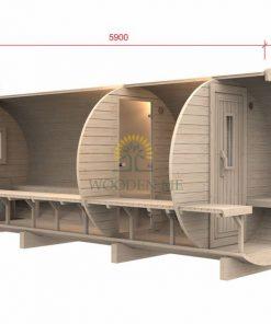 Sauna barrel 5.9 m Ø 1.97 m (with 1.5m changing room)