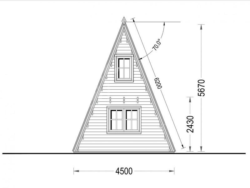 Wooden cabin TIPI (4.5m x 7m) + 5.1m² mezzanine, 44 mm