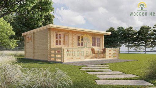 Flat roof wooden summerhouse Alto (6m x 6.7m) + 8 m² terrace