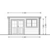 Flat roof wooden cabin Lille (4m x 3m), 34 mm - front view
