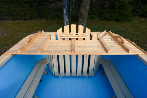 Square hot tub - wooden bench