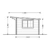 Flat roof wooden cabin Lille (4m x 3m), 34 mm - Side view