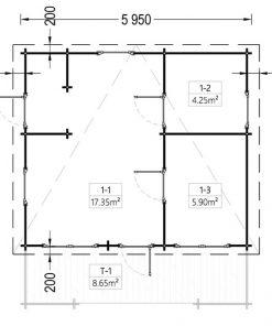 Flat roof wooden summerhouse Alto (6m x 6.7m) + 8 m² terrace - floor plan