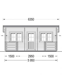 Flat roof wooden summerhouse Alto (6m x 6.7m) + 8 m² terrace - front view
