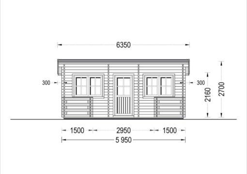 Flat roof wooden summerhouse Alto (6m x 6.7m) + 8 m² terrace - front view
