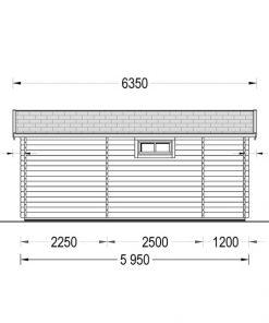 Flat roof wooden summerhouse Alto (6m x 6.7m) + 8 m² terrace - back view