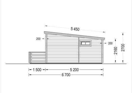 Flat roof wooden summerhouse Alto (6m x 6.7m) + 8 m² terrace - side view