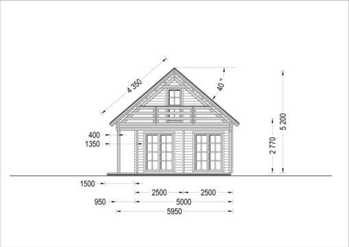 Wooden summerhouse AURA (6m x 12m) - side